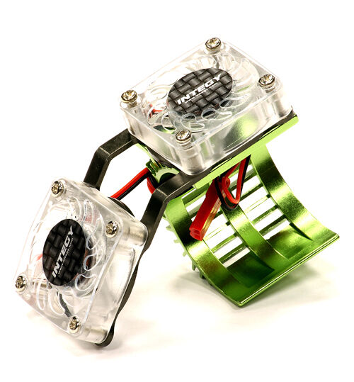 integy c23251green twin cooling fan heatsink for 540 550 size motor w 36mm od ebay. Black Bedroom Furniture Sets. Home Design Ideas