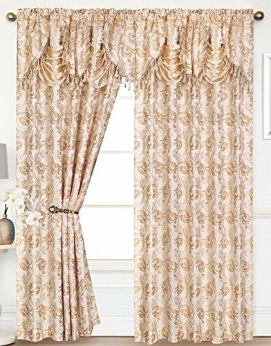 2 Eden Curtain Panels With Attached Austrian Valance 84