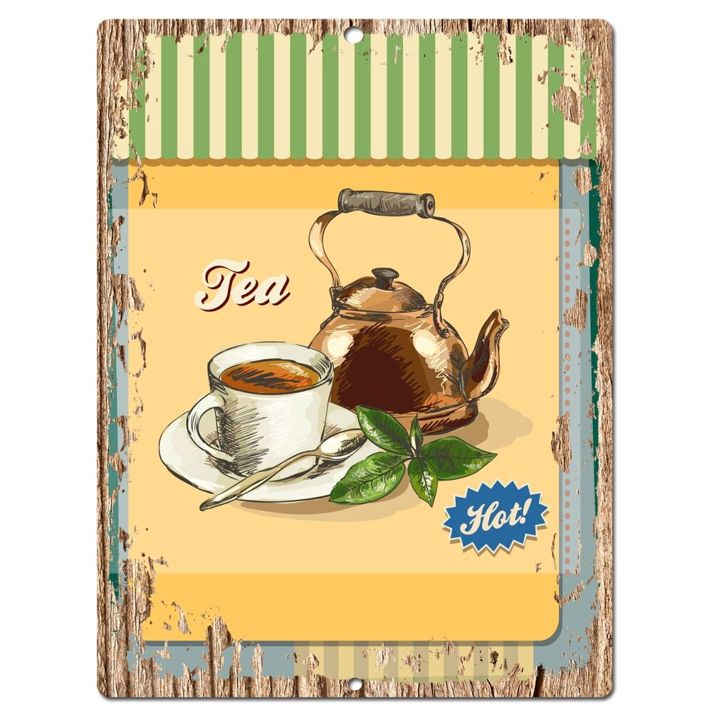 Kitchen Decor Stores: PP0546 Hot Tea Plate Chic Sign Bar Store Shop Cafe