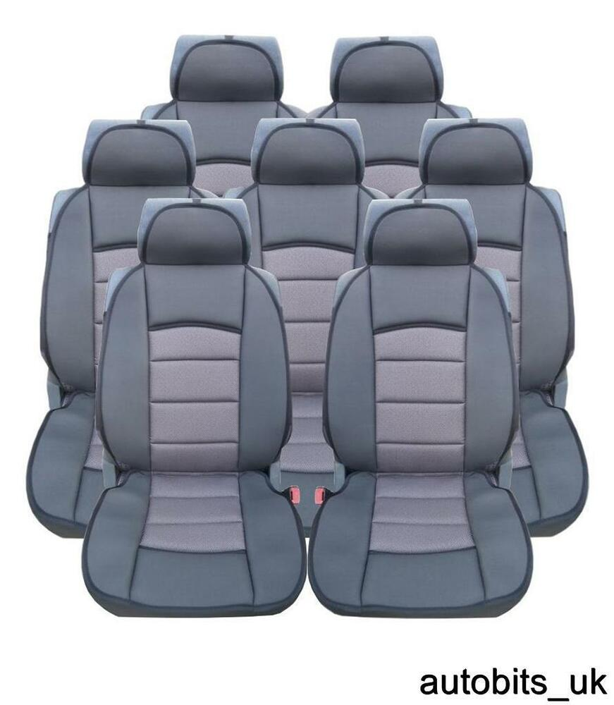 full set 7x grey premium comfort padded seat covers 7 seater vw sharan touran ebay. Black Bedroom Furniture Sets. Home Design Ideas