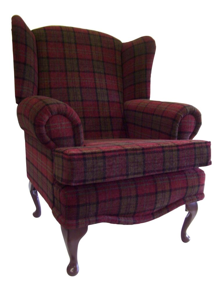 Cottage Wing Back Qa Chair In Burgundy Lana Tartan Fabric