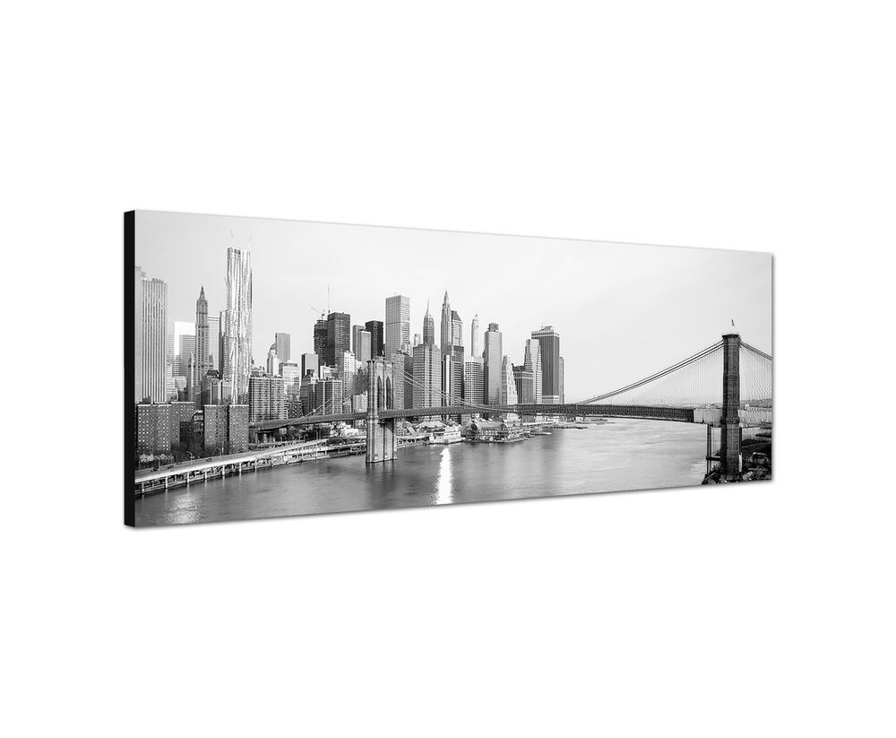 150x50cm panoramabild schwarz weiss new york manhattan brooklyn bridge skyline ebay. Black Bedroom Furniture Sets. Home Design Ideas