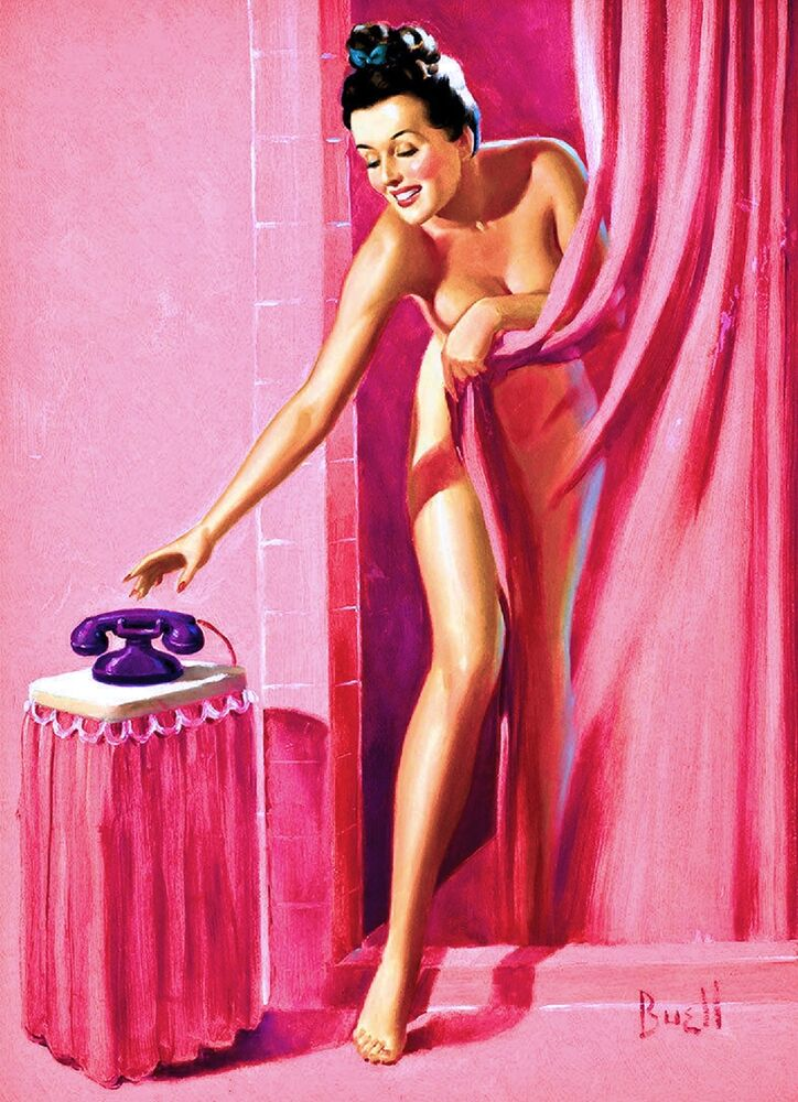 1940s Pin-Up Girl Shower Time and Telephone Picture Poster