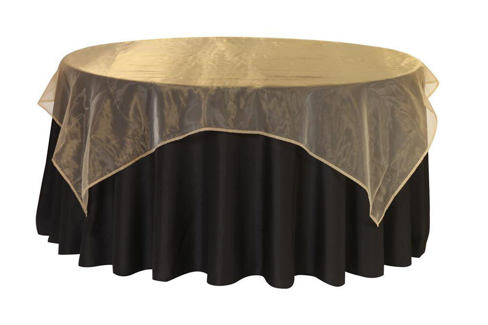 72 Inch Square Organza Table Overlays Gold Ebay