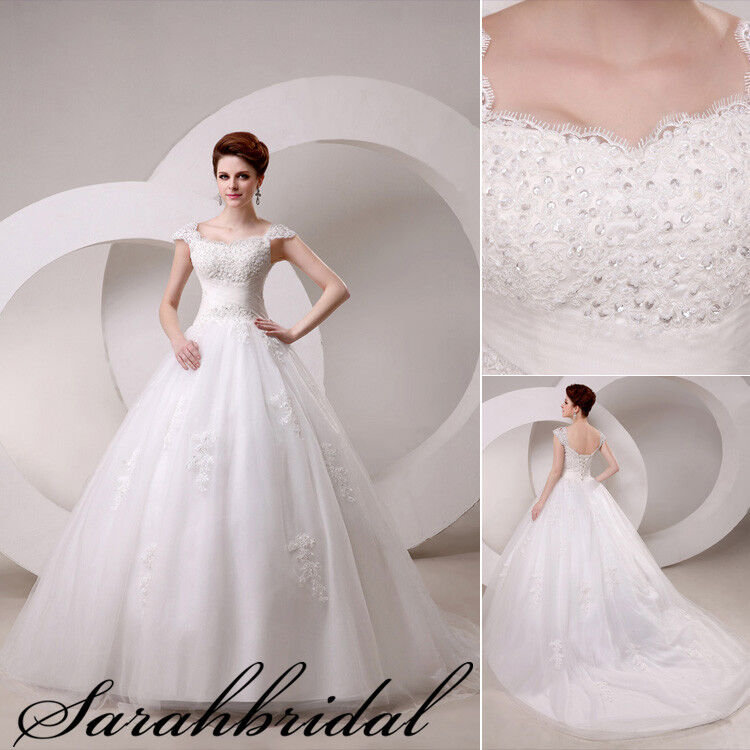Lace Wedding Dresses With Cap Sleeves: A-line Cap Sleeve Lace Bridal Dresses Ball Gown Wedding