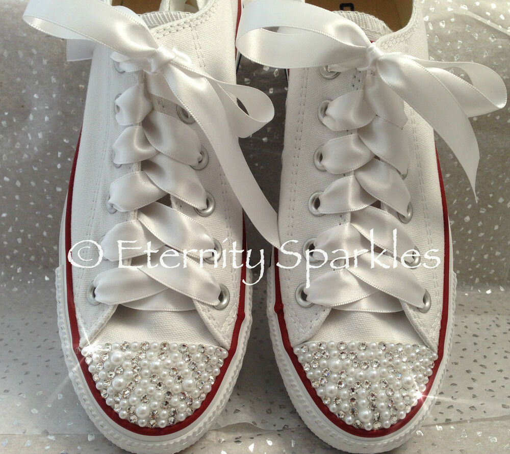 Customised White Pearl And Crystal Wedding Converse All Star Ribbon Laces  UK 3-7  34aff0b3e6