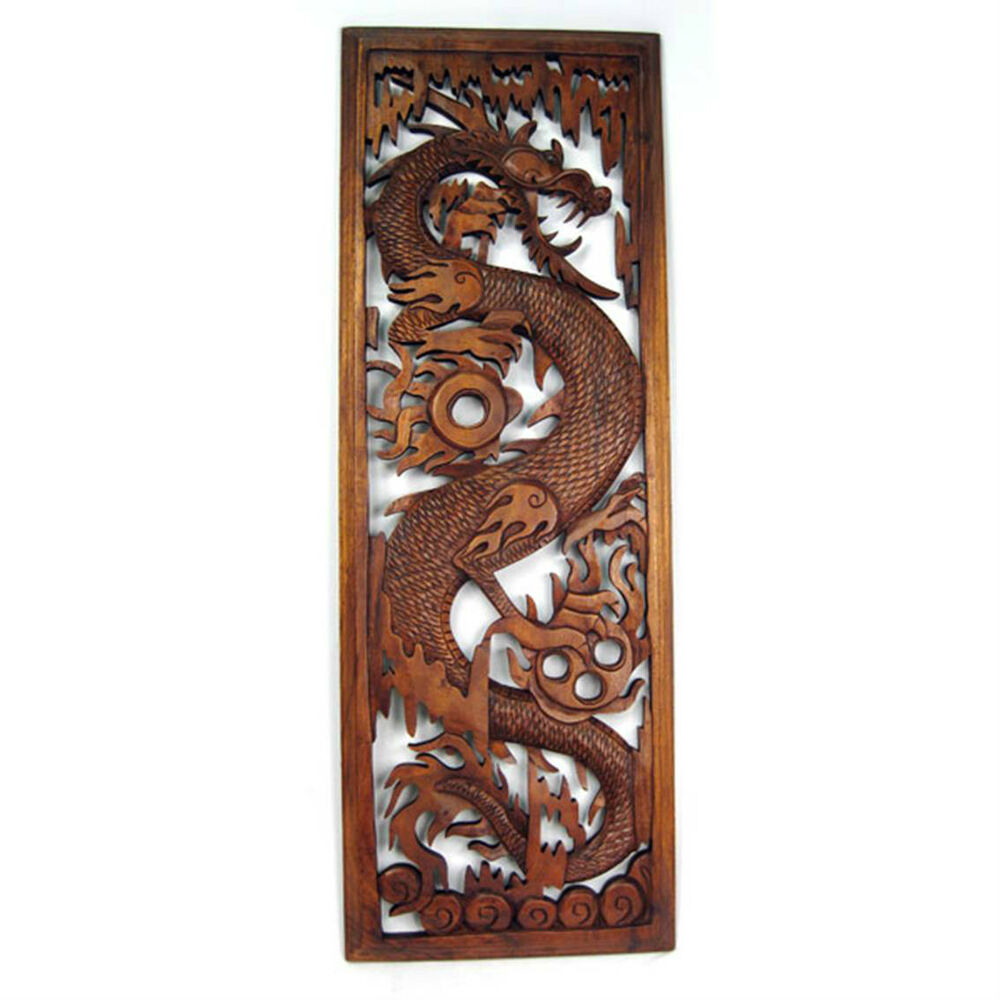 Wooden dragon wall hanging panel cm solid suar wood