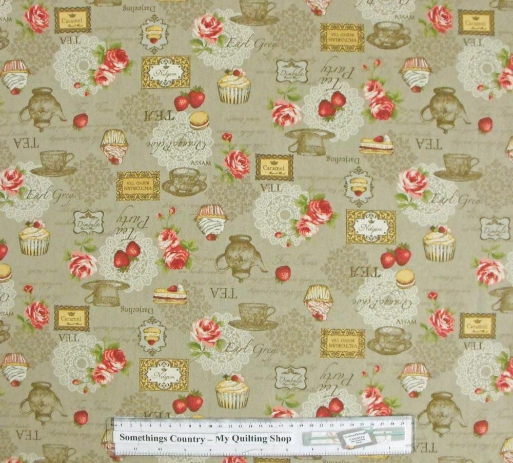 Patchwork quilting fabric kitchen tea beige linen like for Cotton quilting fabric