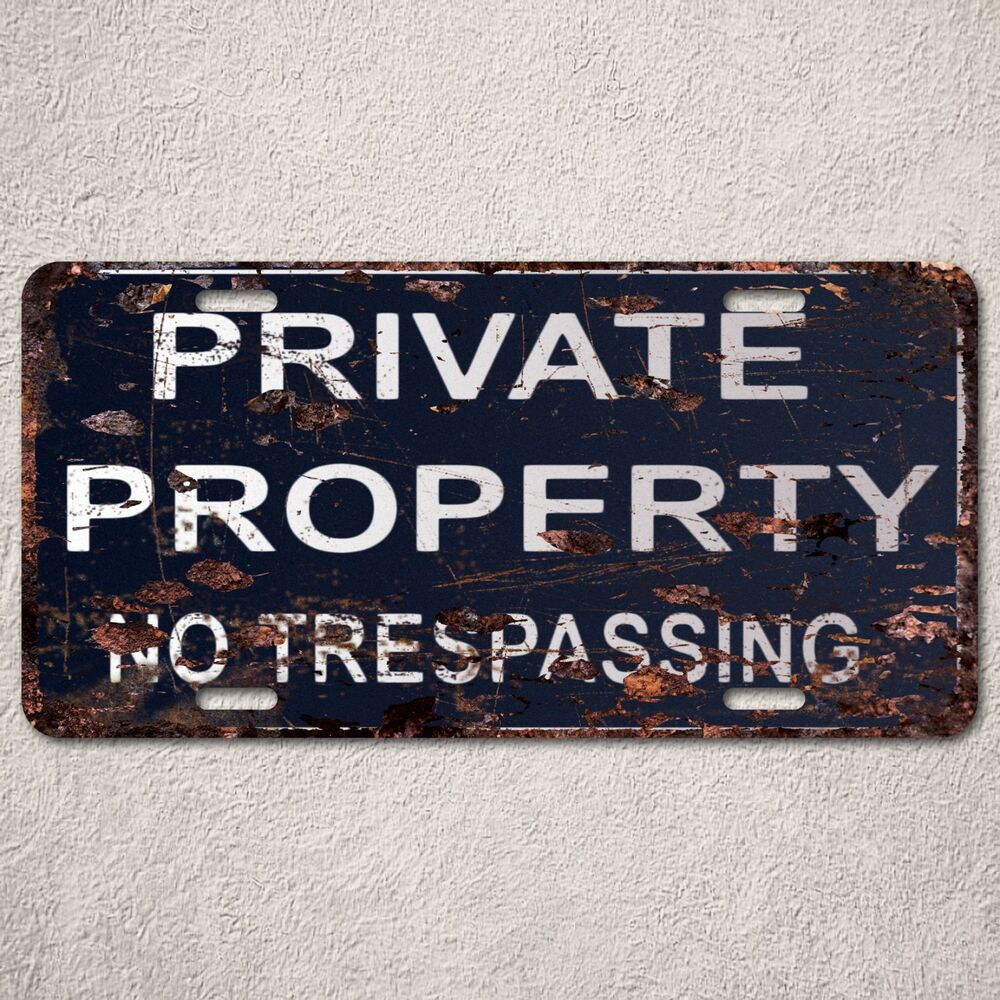 lp0094 private property sign auto license plate rust vintage home store decor ebay. Black Bedroom Furniture Sets. Home Design Ideas