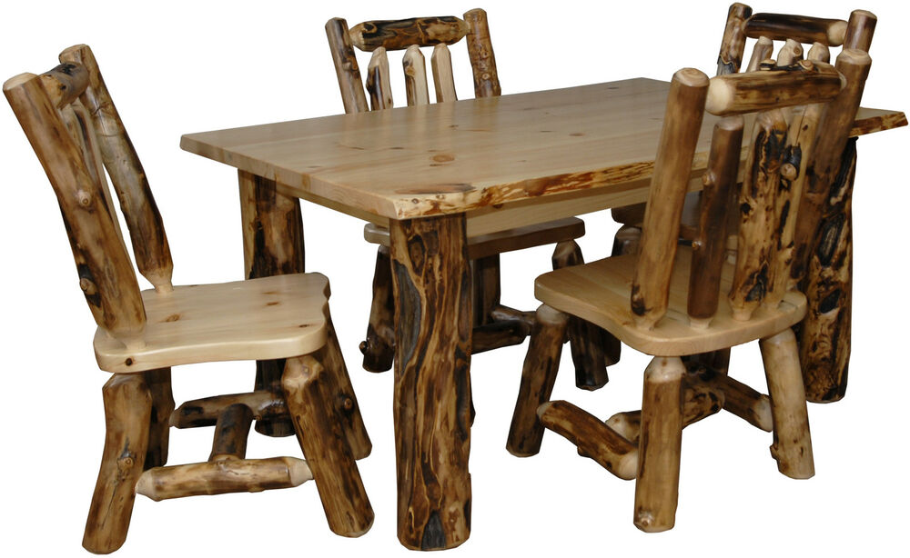 Rustic Living Room Table Sets: Rustic Aspen Log 5 PIECE DINING SET