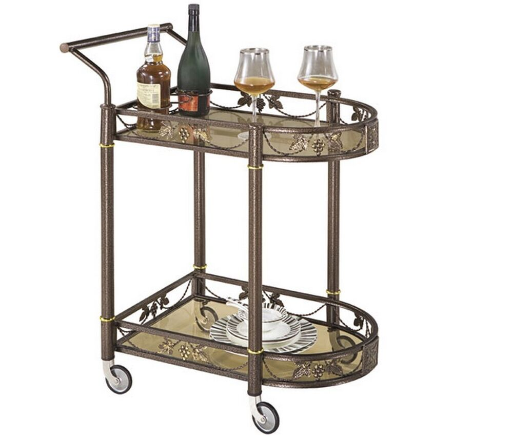 Tea Serving Bar Cart On Wheels & Glass Shelves Antique