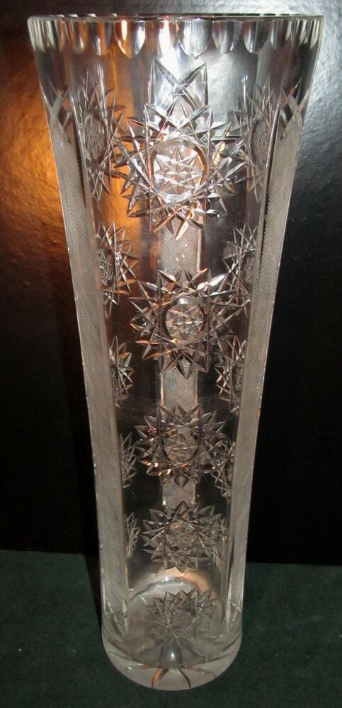 15 Quot Cut With Etched Panel Cylindrical Leaded Crystal Vase Ebay