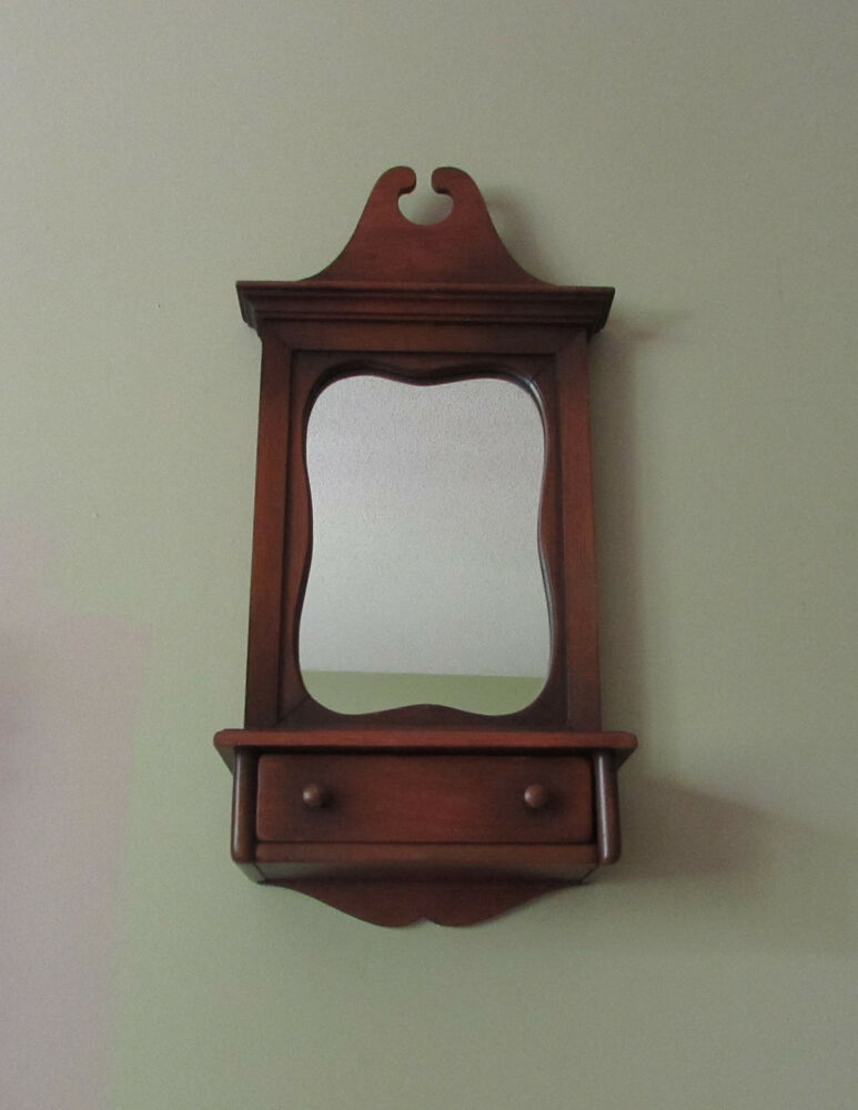 Vintage Wood Wall Mirror With Drawer Colonial Country Home ...