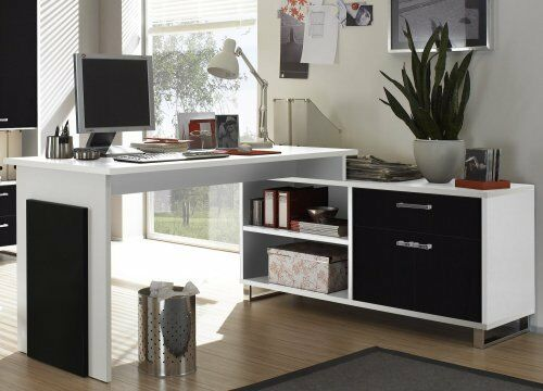 schreibtisch computertisch kombitisch winkeltisch ecktisch weiss schwarz neu ebay. Black Bedroom Furniture Sets. Home Design Ideas