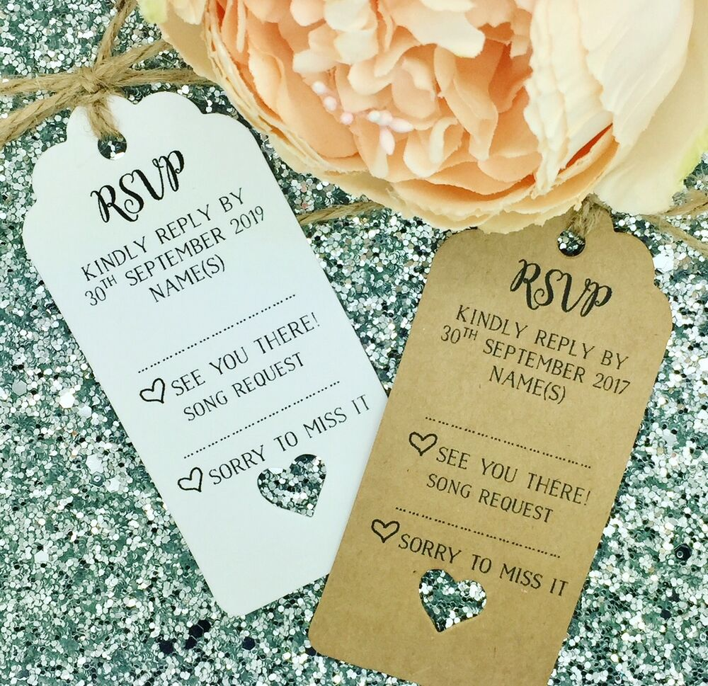 Personalised Wedding Gift Cards : Personalised Wedding RSVP Card Gift Tag eBay