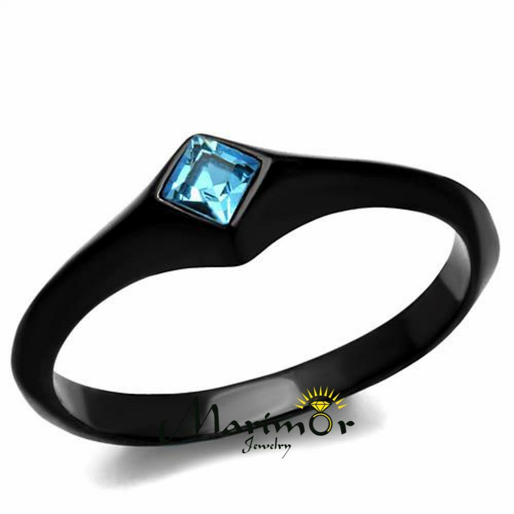 wedding rings black women s princess cut sea blue cz stainless steel black 1018