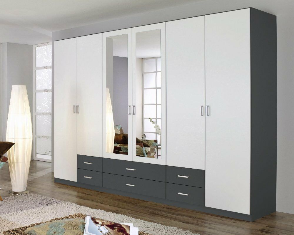 kleiderschrank 6 trg schrank spiegel schubk sten. Black Bedroom Furniture Sets. Home Design Ideas