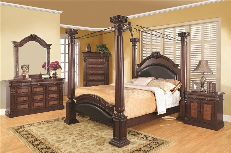 Cherry finish bedroom 4piece set of bed dresser mirror for Cherry wood bedroom furniture