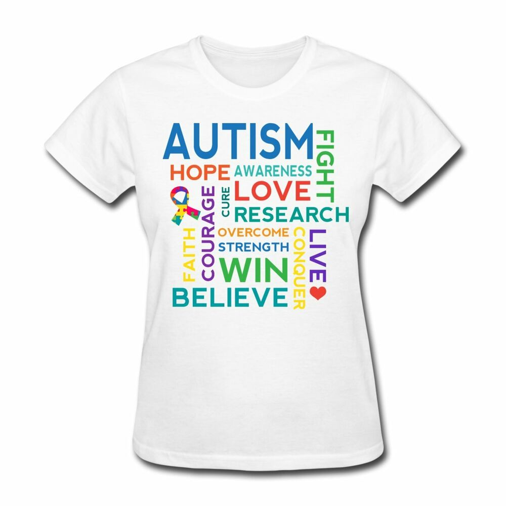 Autism awareness word cloud women 39 s t shirt ebay for How to design and sell t shirts