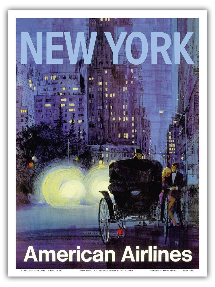 new york central park carriage vintage airline travel art poster print ebay. Black Bedroom Furniture Sets. Home Design Ideas