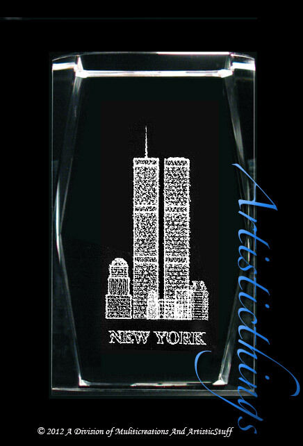3d Laser Crystal Paperweight World Trade Center New York