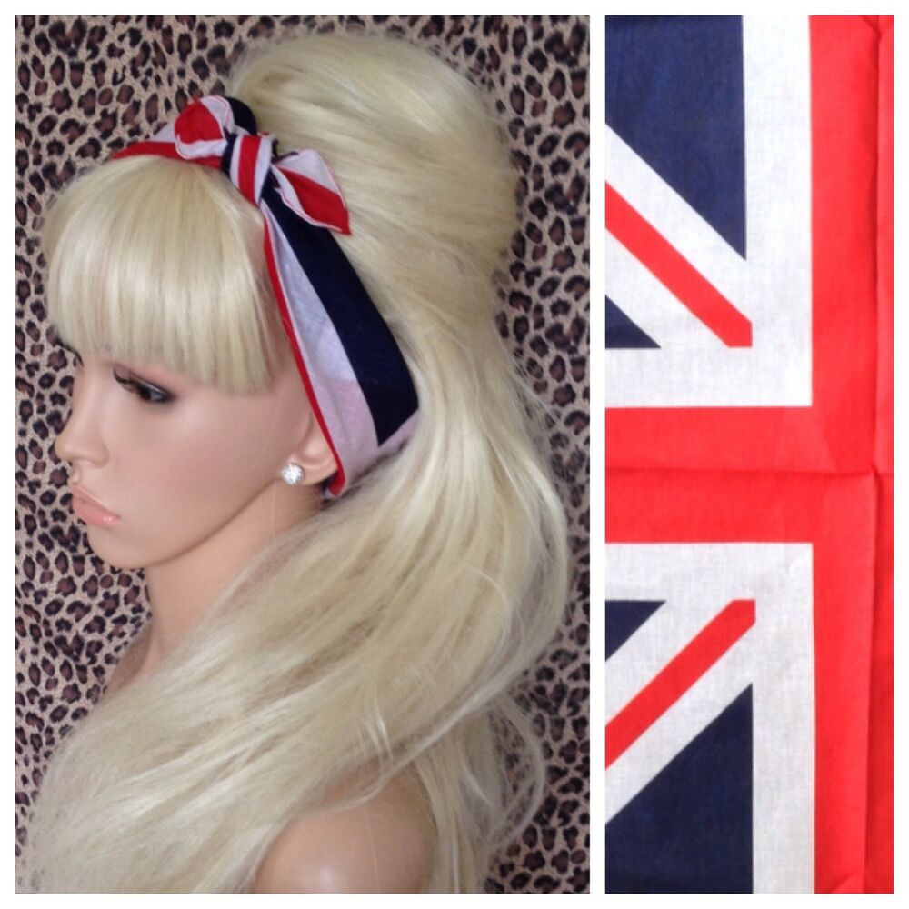 uk union flag cotton bandana hair neck scarf 40s pin