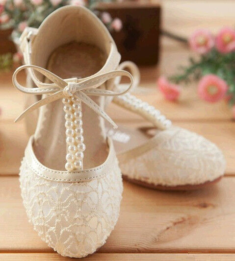 Handmade Pink Lace Flower Girl Shoes Ivory Flat Pearl