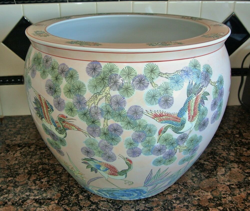 Antique chinese fish bowl famille verte wu cai bird cranes for Large fish bowl
