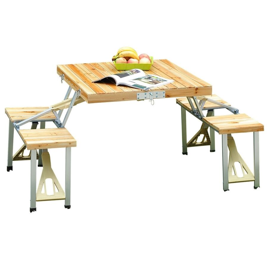 Wooden Picnic Table 4 Chair Set Portable Folding Wood Camping Garden Bench Stool Ebay