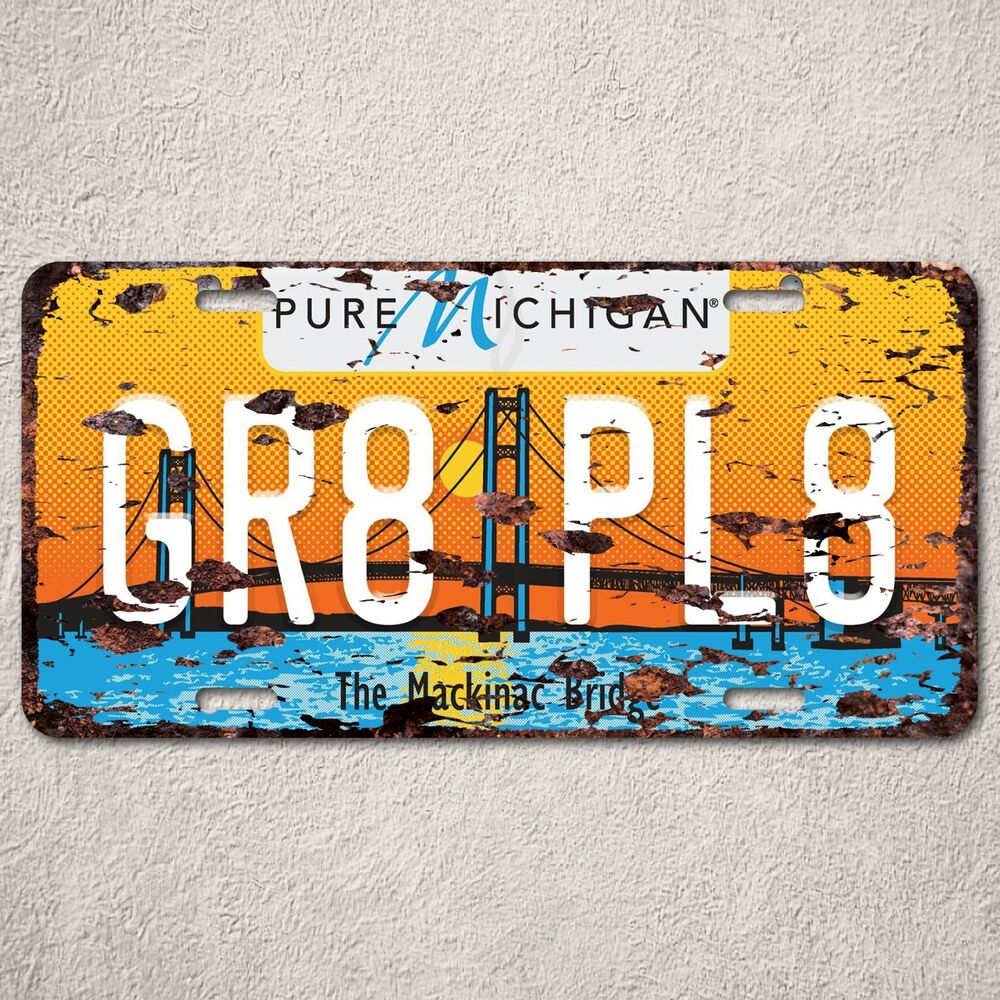 Home Decor Stores Michigan: LP0078 Pure Michigan Auto Car License Plate Sign Rust