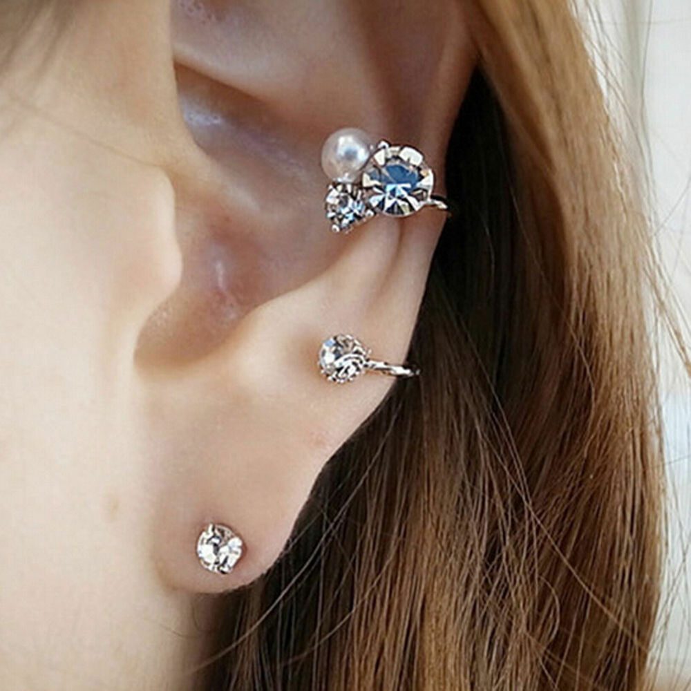 1pc Punk Fashion Ear Cuff Wrap Rhinestone Cartilage Clip ...