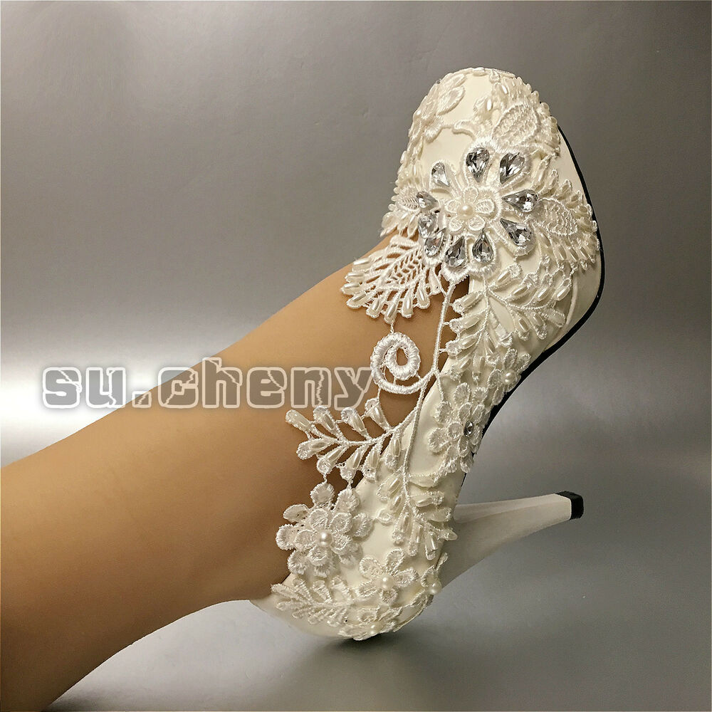 5/7/10 Cm Heel White Lace Pearl Wedding Shoes Pumps Bridal