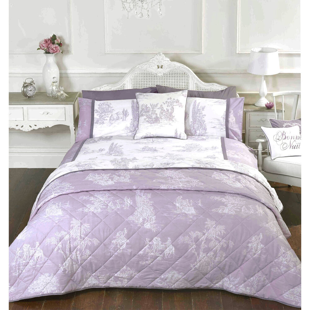 Lilac Toile King Bedding