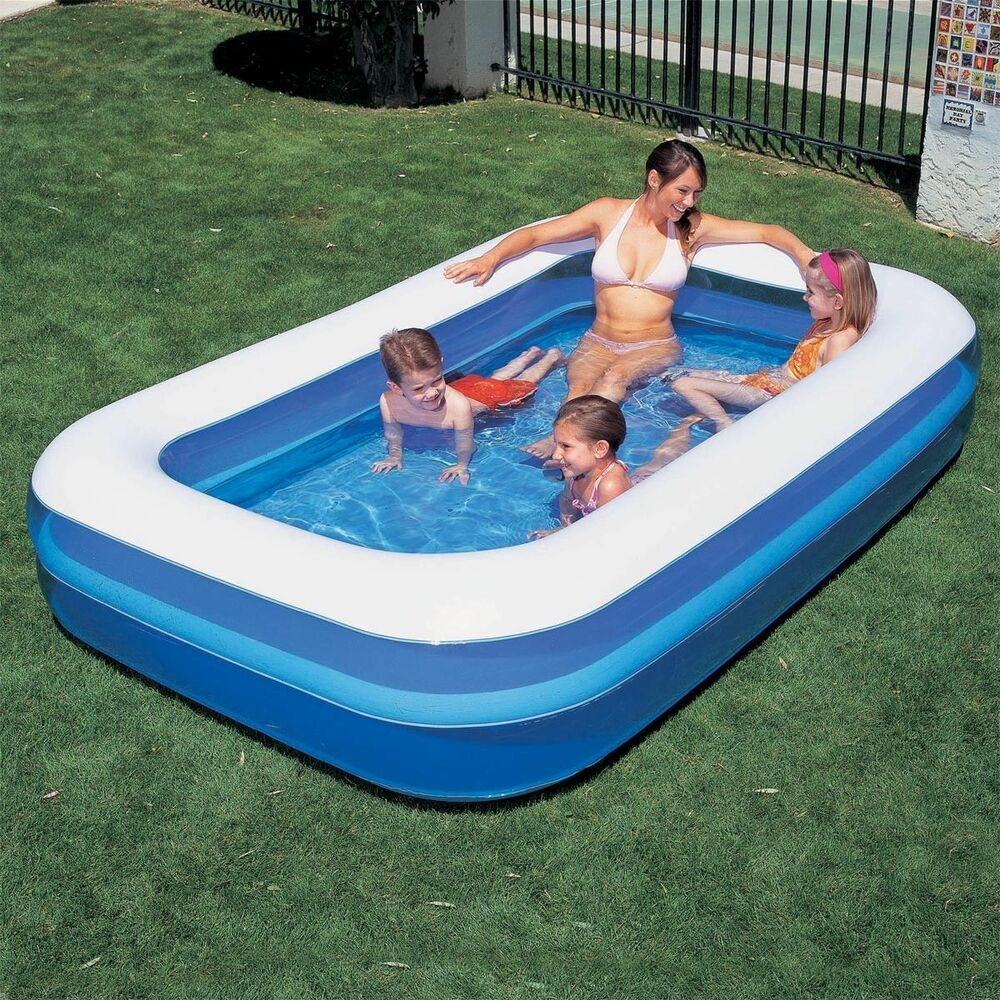"Inflatable Pool Slide Uk: 103"" LARGE INFLATABLE RECTANGULAR FAMILY GARDEN PADDLING"