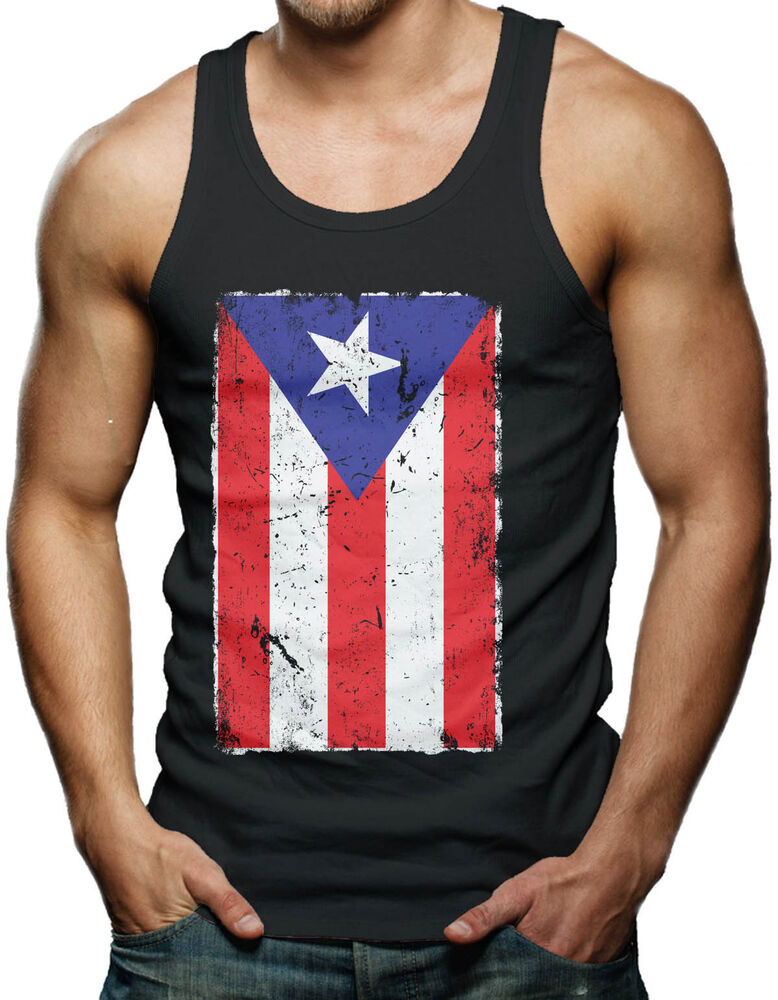Puerto Rico Flag Distressed Country Pride Men S Tank Top