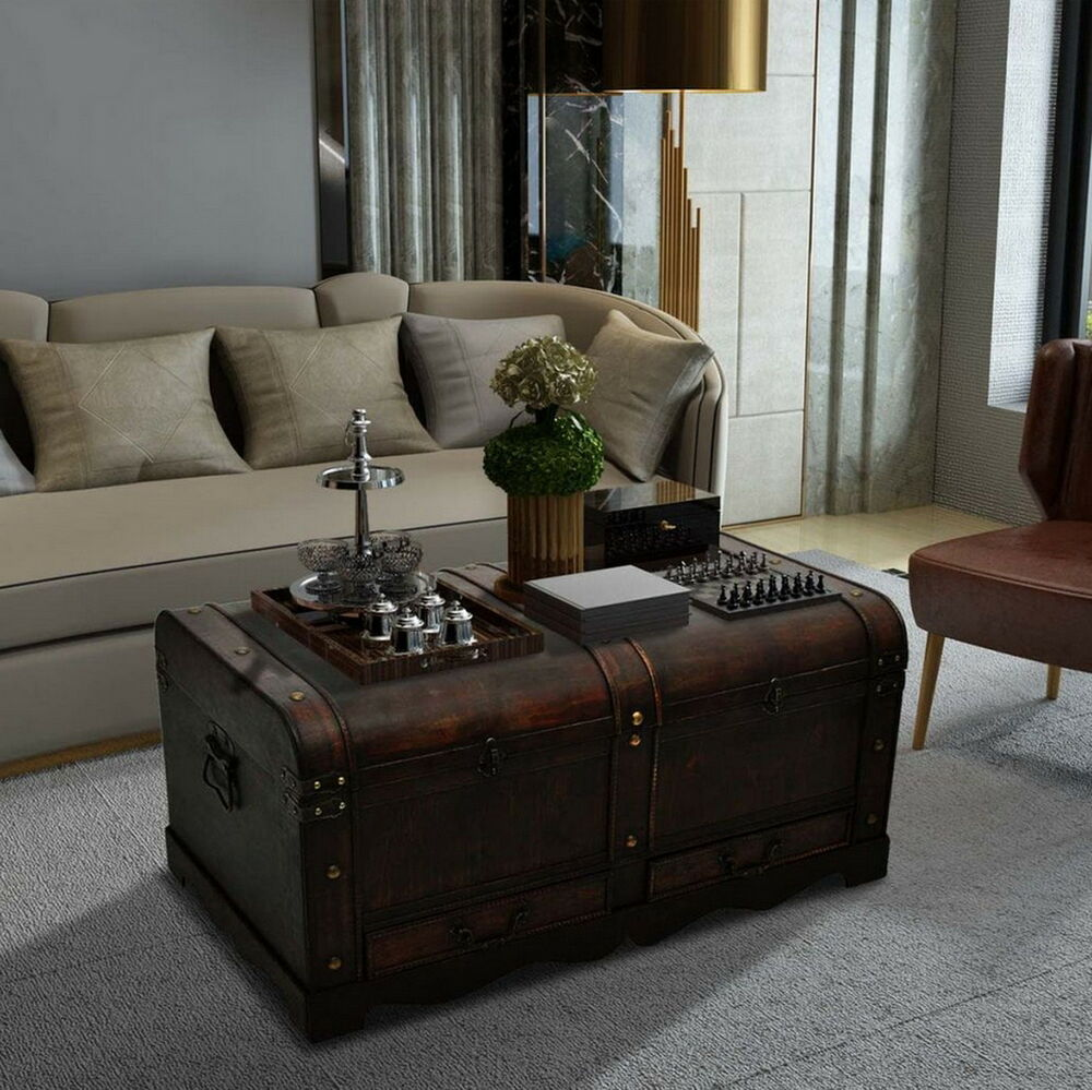Wooden effect chest storage treasure box blanket bedding