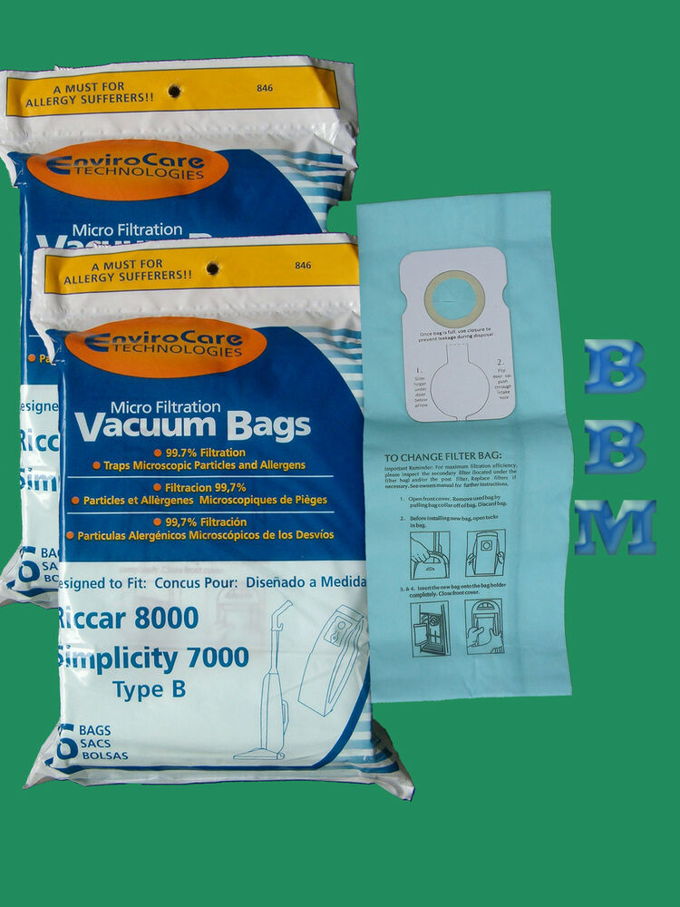 12 Type B Upright Vacuum Cleaner Bags Fit Riccar 7000 8000