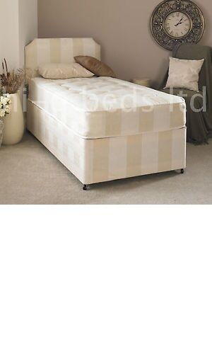 2ft6 Small Single Deep Quilt Divan Bed And Mattress Headboard Storage 2ft6 Ebay