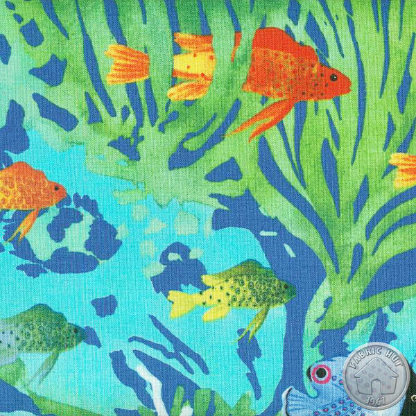 112000021 exotica aquaria aqua fabric by the yard for Fish fabric by the yard