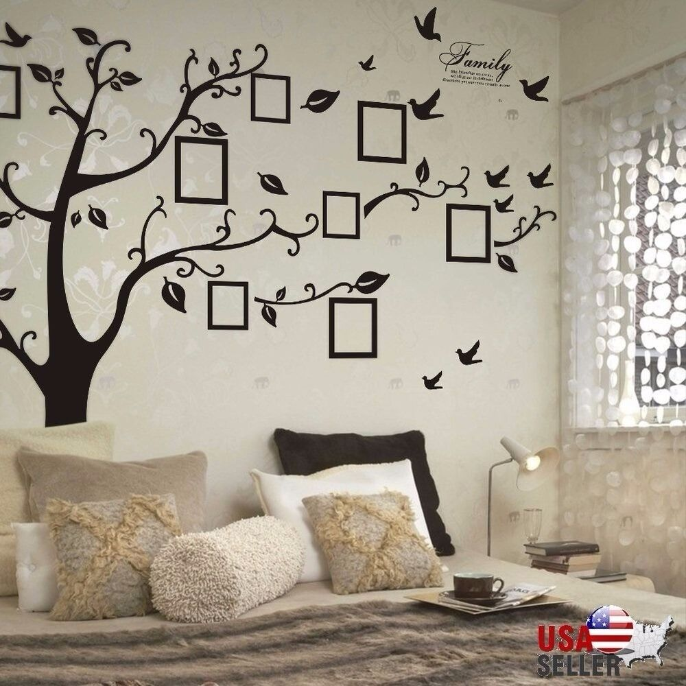 family tree wall decal sticker large vinyl photo picture frame removable black ebay. Black Bedroom Furniture Sets. Home Design Ideas