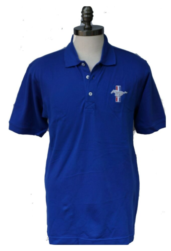 Ford mustang royal blue cotton polo shirt with embroidered for Cotton polo shirts with logo