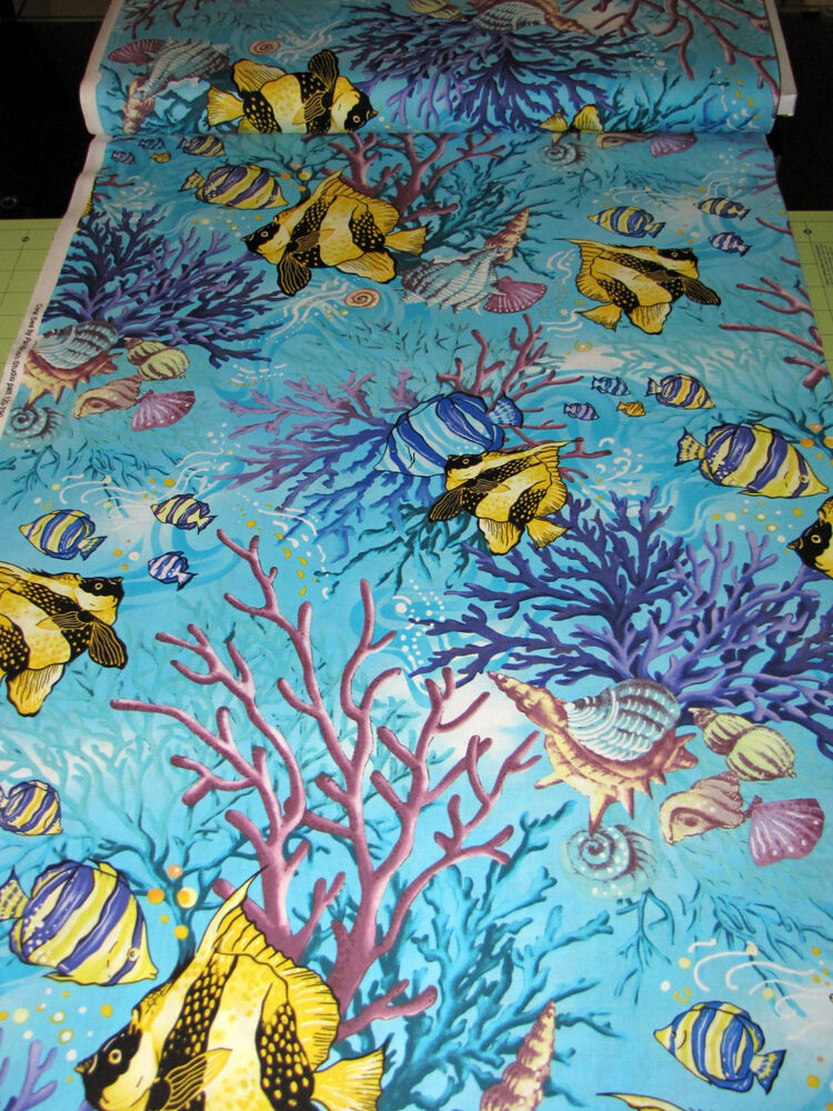 Tropical fish seashell fabric 100 cotton by the yard for Fish fabric by the yard