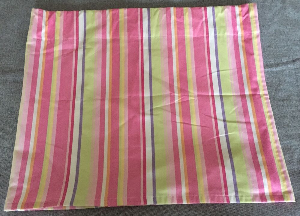 Pottery Barn Kids Valance Curtain 18x44 Lined Stripes Pink Green 100 ...