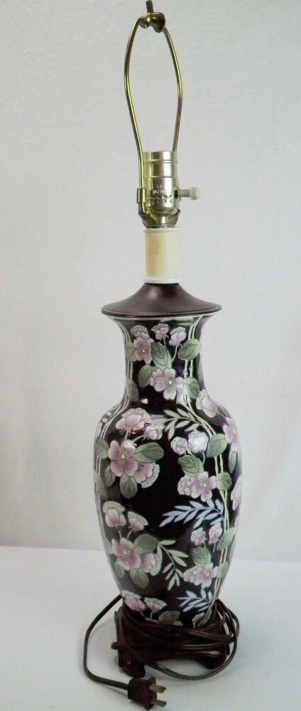 Vintage Asian Flower Bamboo Design Painted Urn Style Table ...