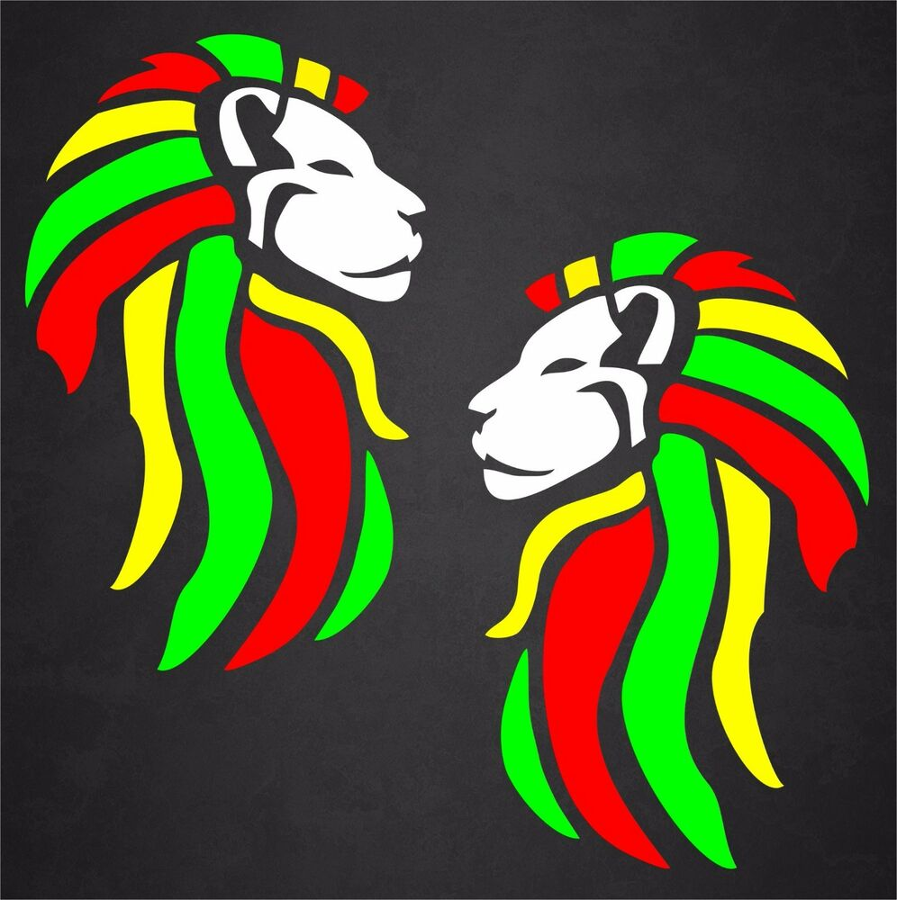Details about 2 rasta sticker decal reggae lion of judah mirrored beach tropical island