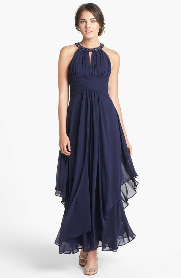 ELIZA J Embellished Tiered Chiffon Halter Gown MOTHER OF THE BRIDE ...