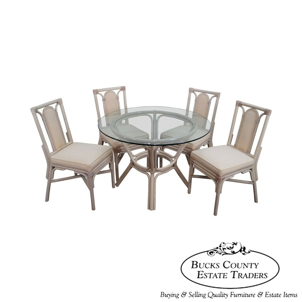 Rattan Bamboo Round Glass Top Dining Table 4 Chair Set EBay