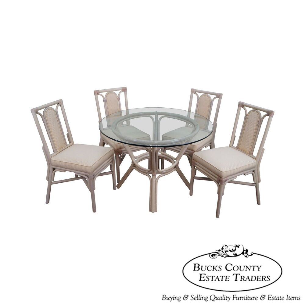 Rattan bamboo round glass top dining table 4 chair set for Round glass dining table set