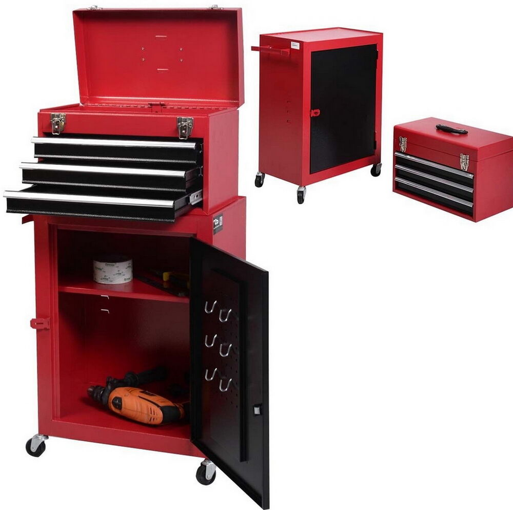 Tool Box Chest Lockable Storage Trolley Cabinet Garage