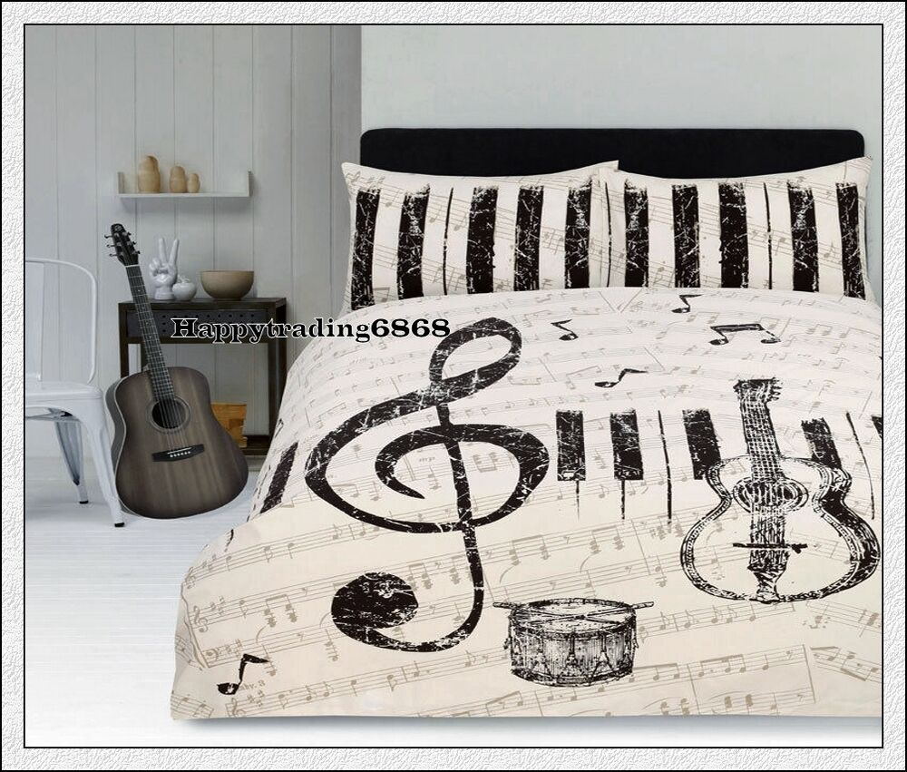 Retro Maestro Music Guitar Piano Ivory King Quilt Doona